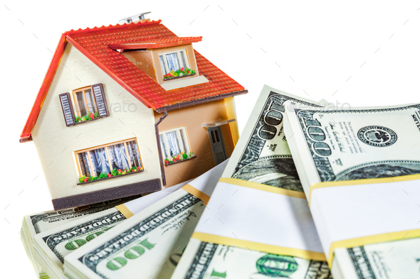 house on packs of banknotes - Stock Photo - Images