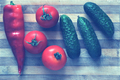 Fresh vegetables on a cutting board. Toned