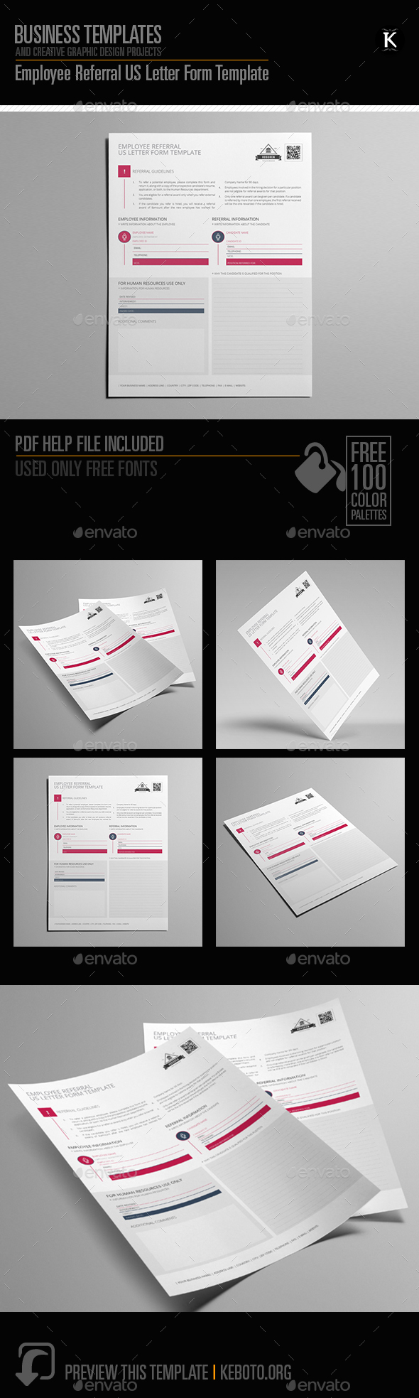 GraphicRiver Employee Referral US Letter Form Template 20672597