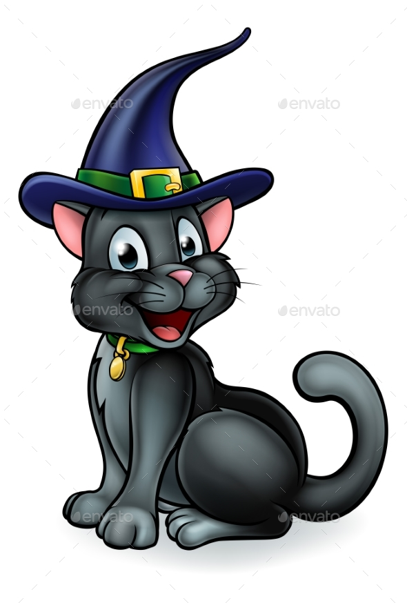 Witches Hat Black Cat Cartoon Character - Animals Characters