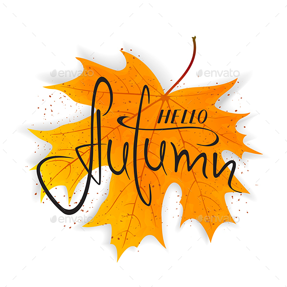 GraphicRiver Lettering Hello Autumn on Orange Maple Leaf 20672691