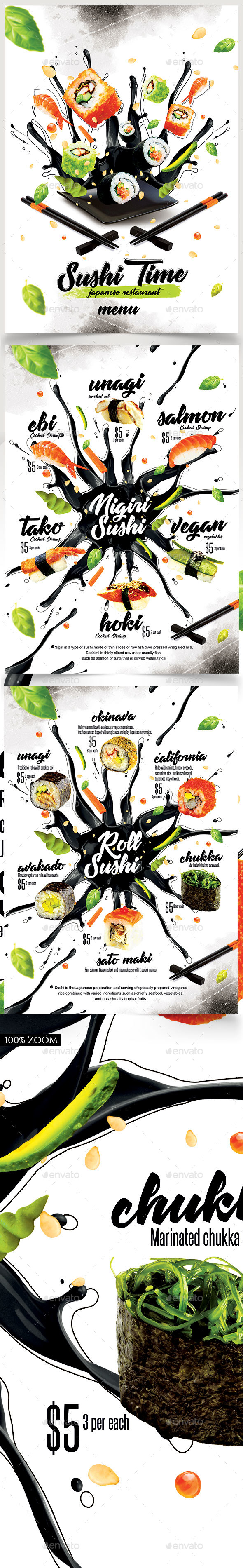 Sushi Menu - Food Menus Print Templates