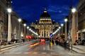 Saint Peter's basilica by night. Vatican city