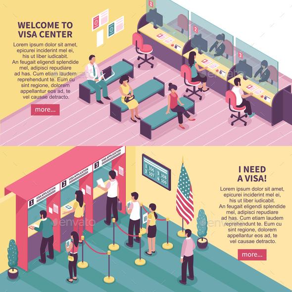 Visa Center Horizontal Banners Set - Miscellaneous Vectors
