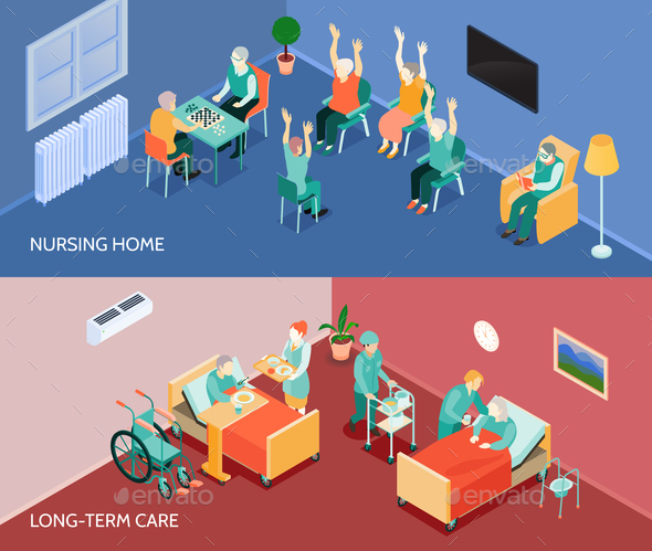 Nursing Home Isometric Horizontal Banners - Backgrounds Decorative