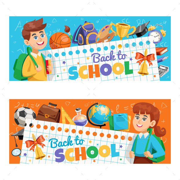 Back To School 2 Banners - Backgrounds Decorative