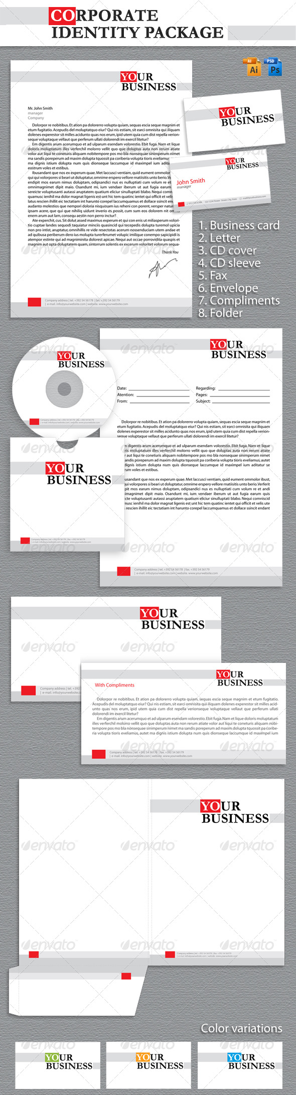 Corporate Identity Package - Stationery Print Templates