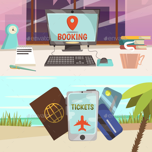 Online Booking Services Banner Set - Travel Conceptual