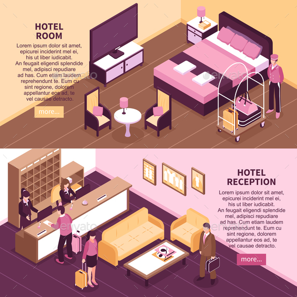 Colored Isometric Hotel Banner Set - Miscellaneous Vectors