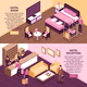 Colored Isometric Hotel Banner Set