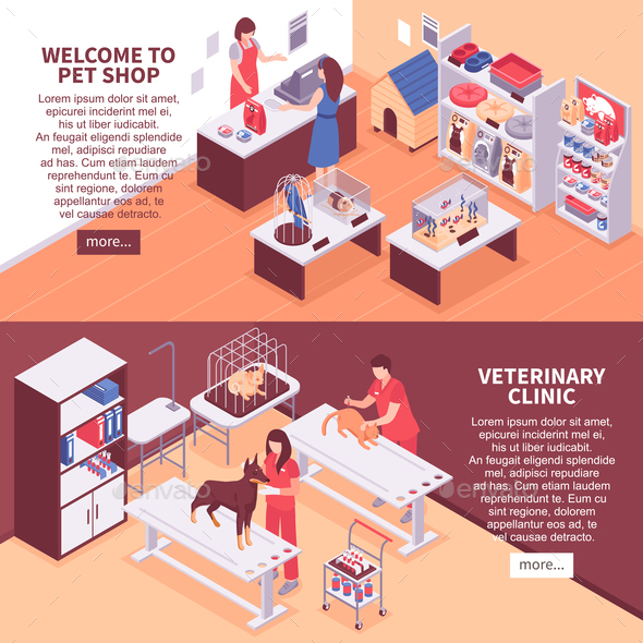 Two Isometric Pet Shop Banner Set - Animals Characters