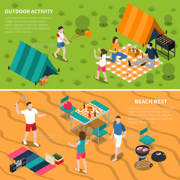 Summer Outdoor Activity People Banner Set