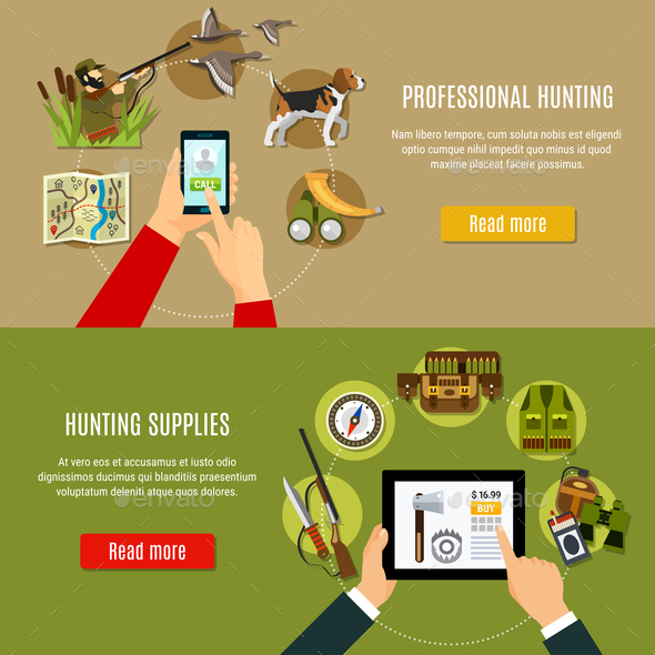 GraphicRiver Hunting Shop Banners Set 20673015