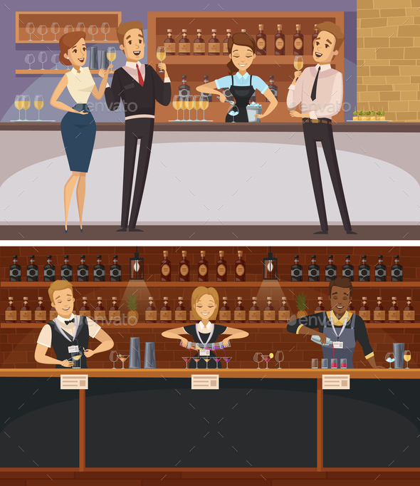 Party in Bar Interior Cartoon Banners - Miscellaneous Vectors