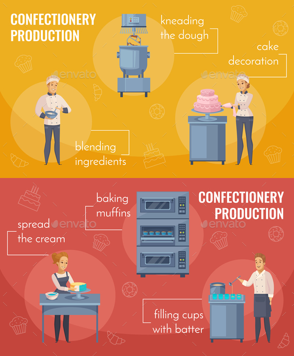 Confectionery Production Horizontal Cartoon Banners - Food Objects