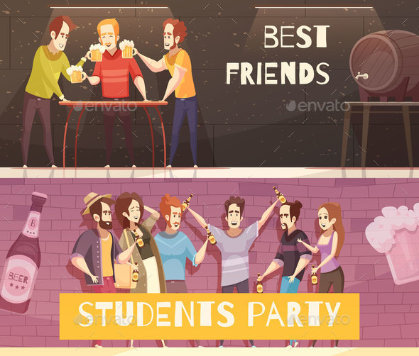 Students Beer Party Horizontal Banners - Miscellaneous Vectors
