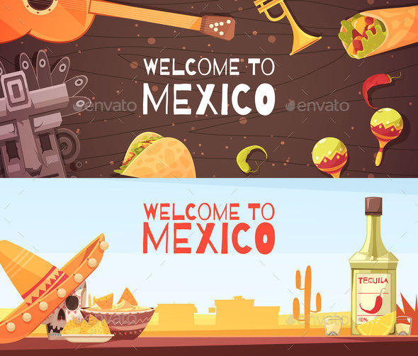 Welcome To Mexico Horizontal Banners - Food Objects
