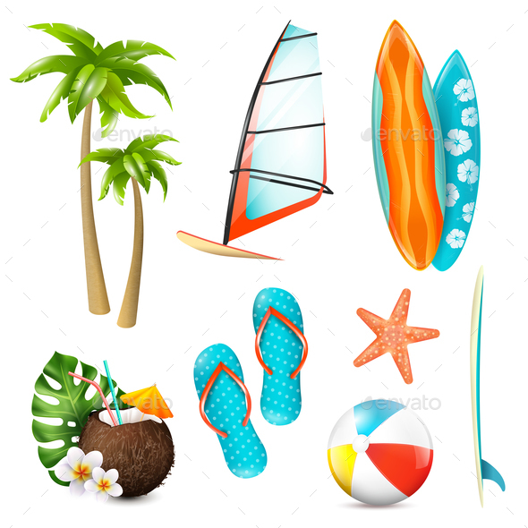 Summer Surf Vacation Items Set - Miscellaneous Vectors