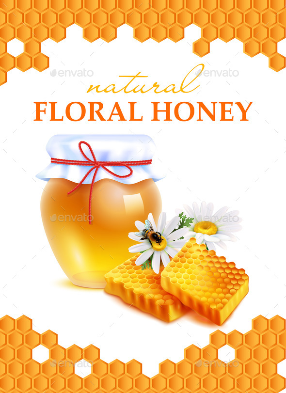 Natural Floral Honey Realistic Poster - Food Objects