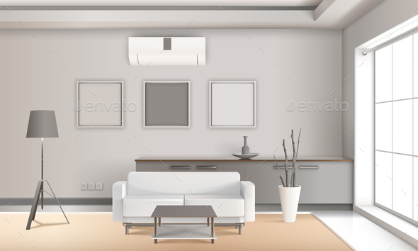 Realistic Lounge Interior in Light Tones - Buildings Objects