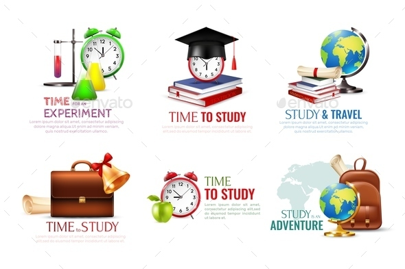 School Graduation Icons Set - Miscellaneous Vectors