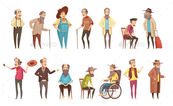 GraphicRiver Senior Men Cartoon Icons Set 20673058