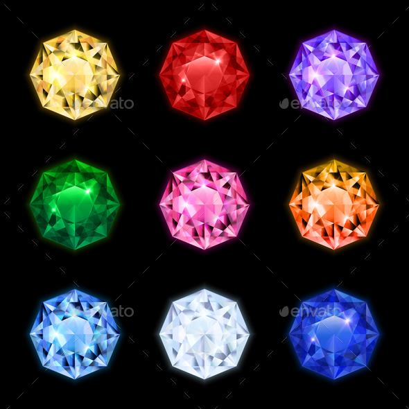 GraphicRiver Realistic Diamond Gemstone Icon Set 20673059