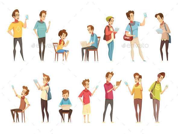Teenagers Retro Cartoon Icons Set - People Characters