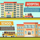 Colored Municipal Buildings Banner Set