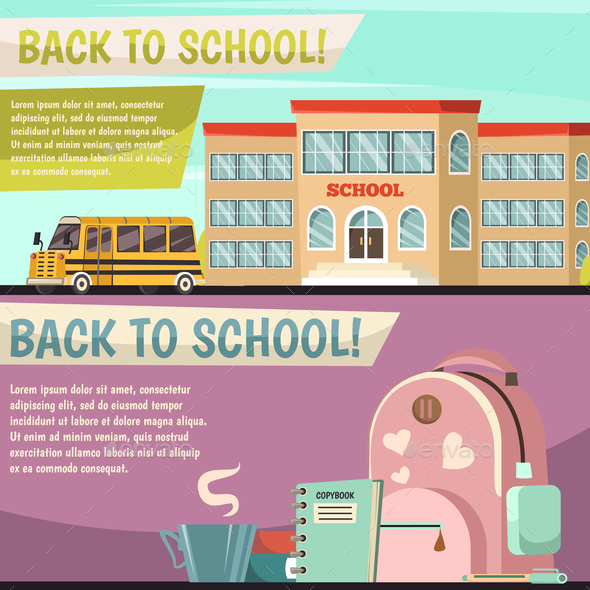 GraphicRiver School Orthogonal Banner Set 20673157