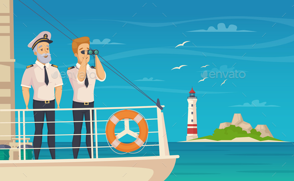 GraphicRiver Ship Crew Captain Cartoon Poster 20673179