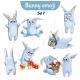 Set of Rabbit Characters Set 7