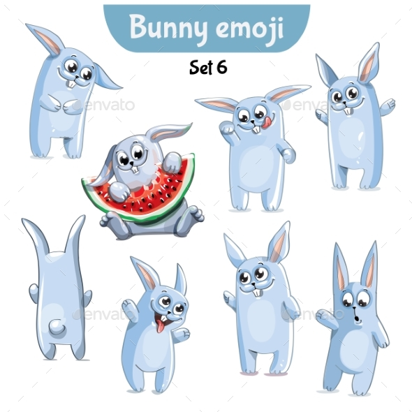 GraphicRiver Set of Rabbit Characters Set 6 20673369