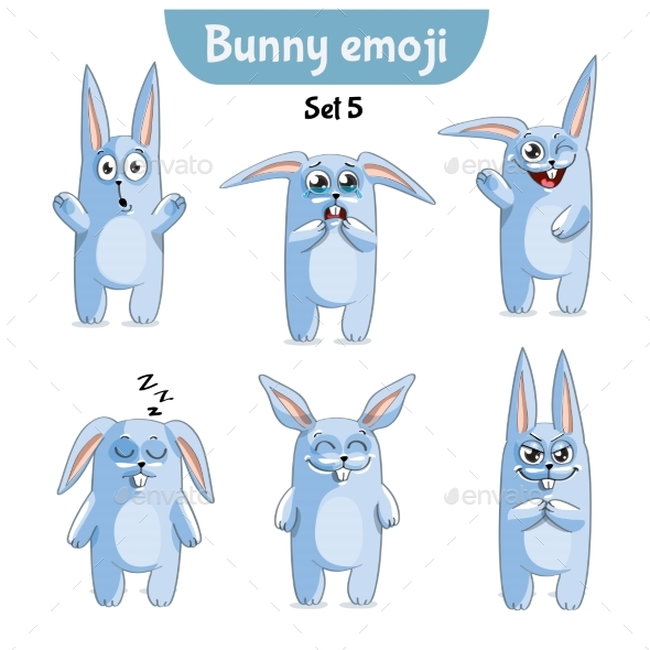 GraphicRiver Set of Rabbit Characters Set 5 20673388
