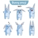 Set of Rabbit Characters Set 5 - GraphicRiver Item for Sale
