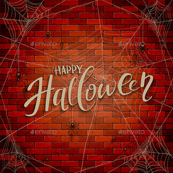 Happy Halloween on Brick Wall with Spiders - Halloween Seasons/Holidays