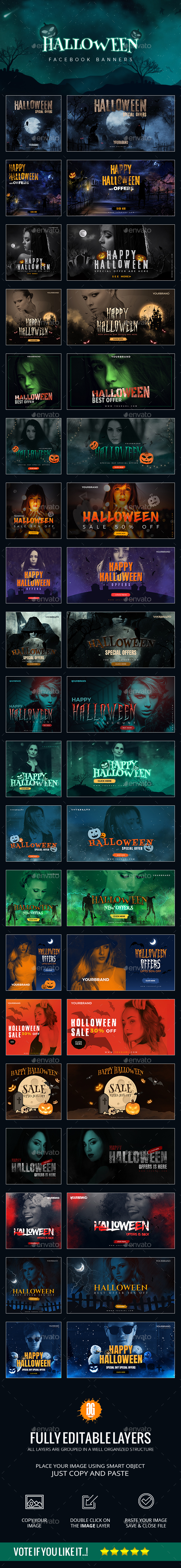 GraphicRiver 40 Halloween Facebook Banners 20673543