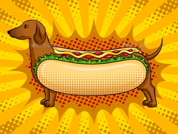 Hot Dog Metaphor Pop Art Vector