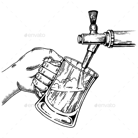 Beer Pours Glass From Beer Tap Engraving Vector - Miscellaneous Vectors