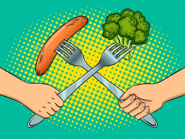 GraphicRiver Fight on Forks Pop Art Vector Illustration 20673596