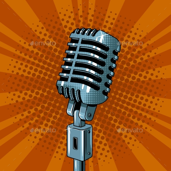 Microphone Pop Art Style Vector Illustration - Man-made Objects Objects