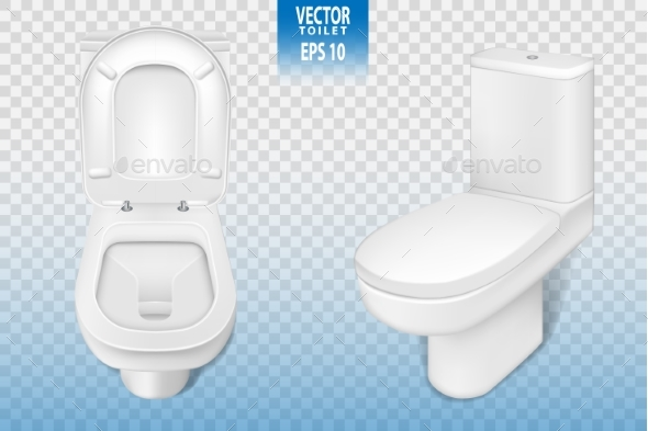 Realistic Toilet Mock-up Closeup - Man-made Objects Objects