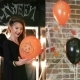Halloween Celebration, Young Witch Playing Balloon with Pumpkin, Teen Girl Wearing Scary Costume - VideoHive Item for Sale