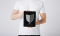 man with antivirus program icon on tablet pc