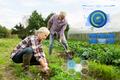 senior couple working in garden or at summer farm