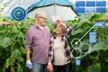 happy senior couple at farm greenhouse