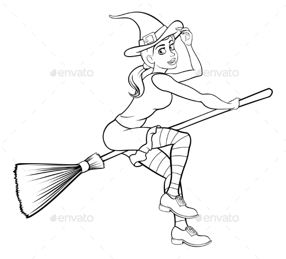 Cartoon Halloween Witch Flying on Her Broomstick - Miscellaneous Vectors