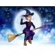 Halloween Witch Flying on Broomstick Background - GraphicRiver Item for Sale