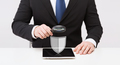 businessman with tablet pc antivirus program icon
