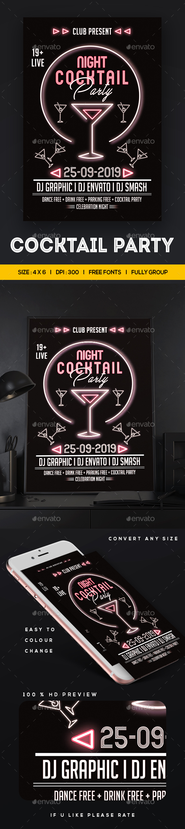GraphicRiver Cocktail Party Flyer 20673815